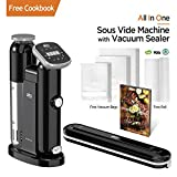 AIO Sous Vide Cooker - Powerful 1000 Watt Professional Model  - 120V - Includes Vacuum Sealer - 15 Vacuum Bags - 1 16ft Roll - Cookbook - Immersion Circulator - Precision Thermal Kitchen Cooking Machine - Accurate to 0.2 degrees F - Ultra Quiet