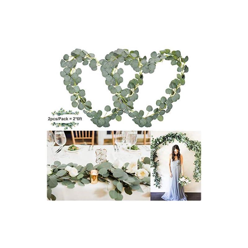 silk flower arrangements soyee artificial eucalyptus garland 12ft wedding arch decorations faux eucalyptus leaves vines handmade greenery garlands backdrop table placement decor