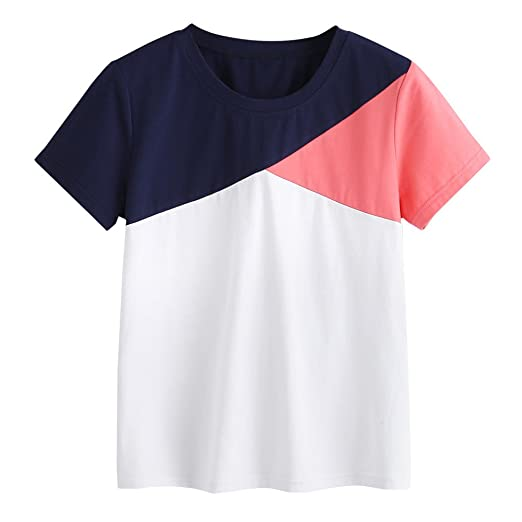 2a949336cc4 Amazon.com  GOVOW White Black Orange Printed Patchwork Blouse Tops Casual Short  Sleeve O-Neck Tops T-Shirt  Clothing