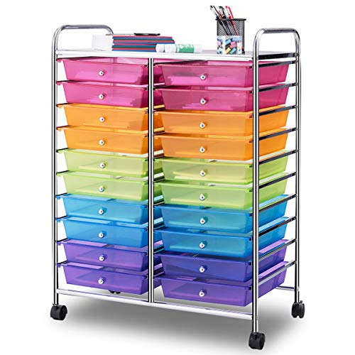 Giantex 20 Drawer Rolling Storage Cart Tools Scrapbook Paper Office School Organizer, Multicolor (Rainbow 8 Drawer Rolling Chest By Recollections)