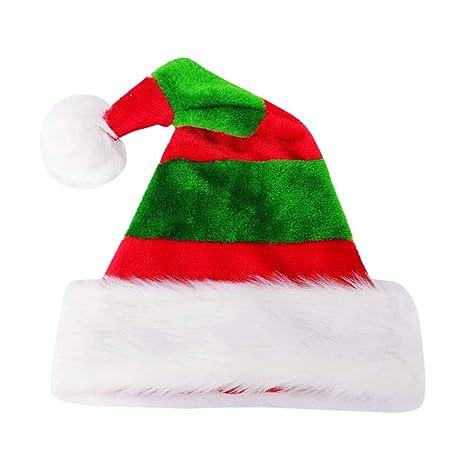 af55074118c39 BESTOYARD Chapeau de Noel Tissu Bonnet Pere Noel Peluche Motif Rayure Rouge  et Vert pour Enfants