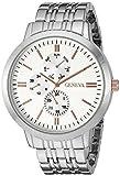 Geneva Men's GV/5001SVTT Multi-Function Dial Silver-Tone Bracelet Watch