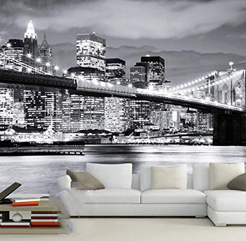 (Yynight Mural Night View Manhattan Bridge New York European and American Cities Black and White Living Room Backdrop Wallpaper-200Cmx140Cm)