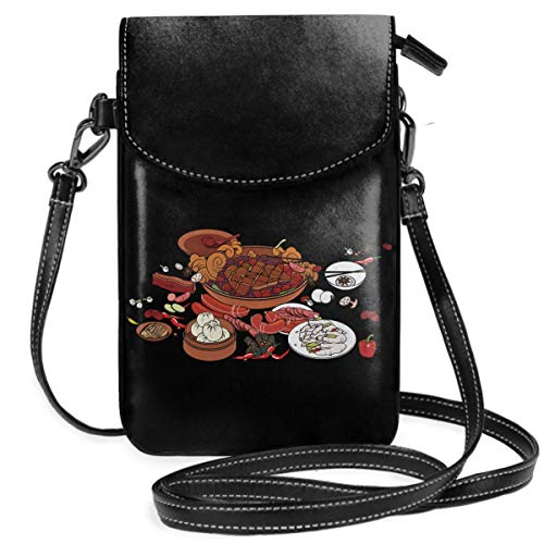 Small Cell Phone Purse For Women Leather Dinner Insides Card Slots Crossbody Bags Wallet With Shoulder Strap -