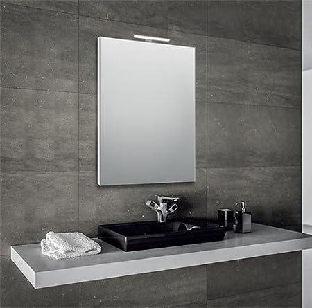 Progetto Srl Specchio Per Bagno 60x80 Cm Con Cornice E Con Lampada Led In Alluminio Amazon It Casa E Cucina