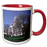 3dRose Sandy Mertens Rhode Island - State House of Rhode Island - 11oz Two-Tone Red Mug (mug_55320_5)