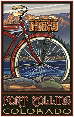 Fort Collins Colorado Fat Tire Bike Travel Art Print Poster by Paul A. Lanquist (30