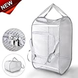 Daly Kate Clothes Pop-Up Foldable Basket Large Mesh Double Opennings and Reinforced Handles for Dirty Clothes-15x25in Laundry Hamper, 1525inch, Grey
