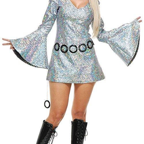 Charades Women's Sparkle Diva Disco Dress, Silver -