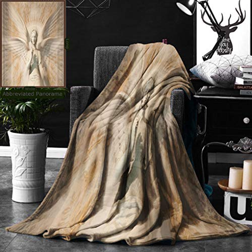 Unique Custom Double Sides Print Flannel Blankets Sculptures Decor Statue Of Angel Woman In Medieval Holy Cathedral Vintage Style My Super Soft Blanketry for Bed Couch, Throw Blanket 40 x 60 Inches by Ralahome