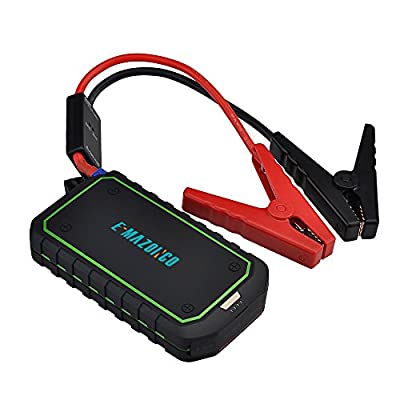 E-MAZONCO Mini Portable Car Jump Starter and Charger Power Bank with 600A Peak 12000mAh, Advanced Safety Protection and Built-in LED Flashlight & Emergency Light