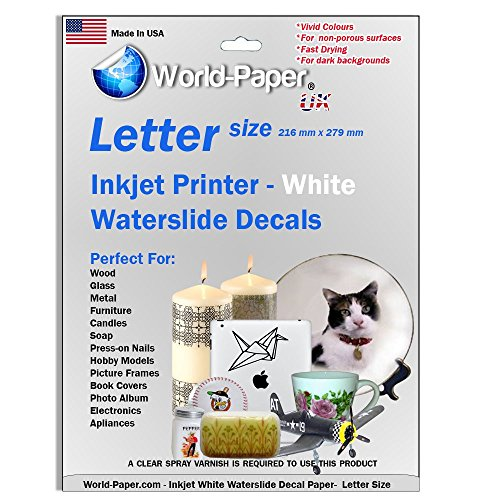 White Backing Waterslide Decals Inkjet Paper WHITE 10 Sheets Package :)