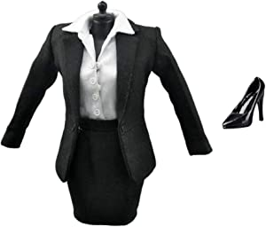 ZSMD 1/6 Scale 12 inch Female Doll Outfits - Office Lady Suit, Mini Skirt, White Shirt, Pantyhose, Pumps Set