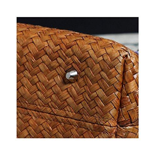 Sac Rétro Photocolor Style En à Bambou La Casual Sac Sac Ethnique à Main Main à Main Couture De rrqZ1Tgnw