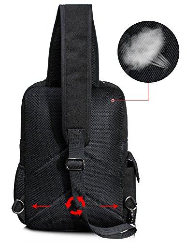 Leaper Messenger Bag Outdoor Cross Body Bag Sling Bag Shoulder Bag (Large, Black2)