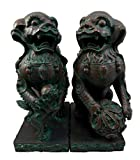 """Atlantic Collectibles Imperial Palace Mythical Guardian Foo Dogs Lions Decorative Bookends Figurine Pair 10""""H"""