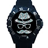 FCB005	Nice Design Bling Hat Mustaches And Glasses Black Plastic Wrist Watch