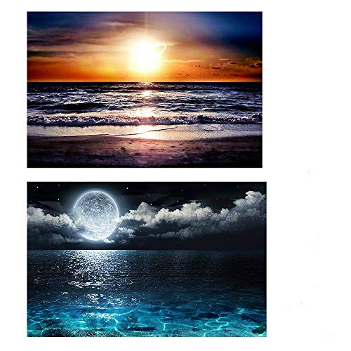 Twuky 5D DIY 2 Pack Full Drilling Diamond Painting,by Number Kits Crafts & Sewing Cross Stitch,Wall Stickers for Living Room Decoration,Early Evening and Bright -