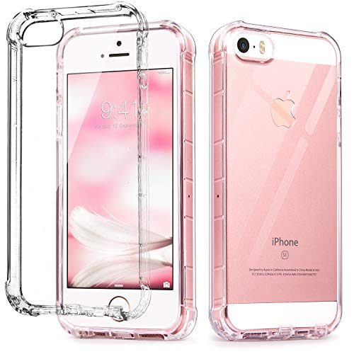 iPhone SE Case Clear, IDweel iPhone 5s case, iPhone 5 case, Clear Slim Fit 5/5S/SE Case with Transparent See Through Flexible Anti-Scratch Soft TPU Bumper Shock-Absorption Cover