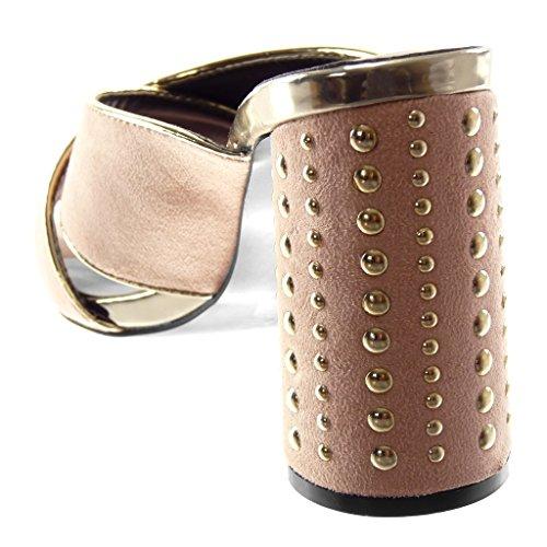 Moda 10 Chiaro Mules Scarpe D'oro Cinghie on Donna Decollete Tacco Elegante Con Borchiati Incrociate Rosa Cm Blocco A Alto Angkorly Slip qSFxC5wCT