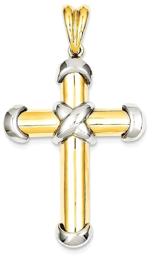 ICE CARATS 14k Two Tone Yellow Gold Cross Religious Pendant Charm Necklace Latin Fine Jewelry Gift Set For Women Heart by ICE CARATS (Image #1)