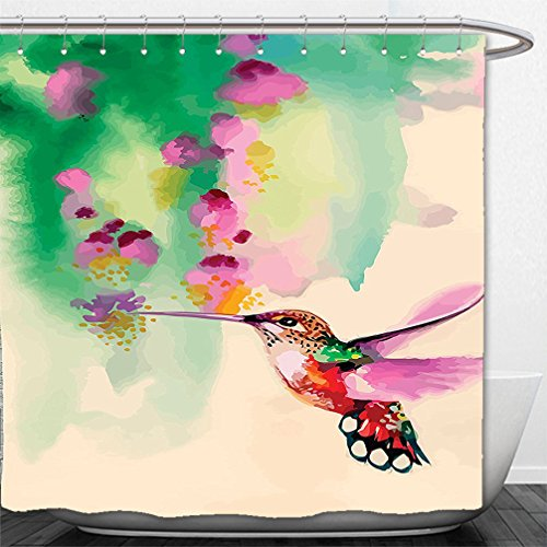 Fuchsia Tulle Flower Decoration (Interestlee Shower Curtain Hummingbirds Decorations Art with Colibri Bird And Flowers Romantic Springtime Tropics Nature Decor Green Fuchsia)