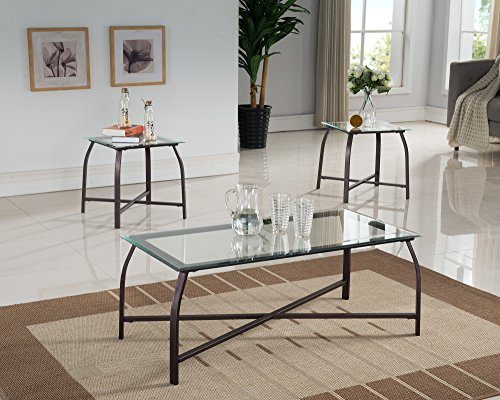 Kings Brand Furniture 3 Piece Glass Top Coffee Table & 2 End Tables Occasional Set, (3 Piece Glass Top Table)