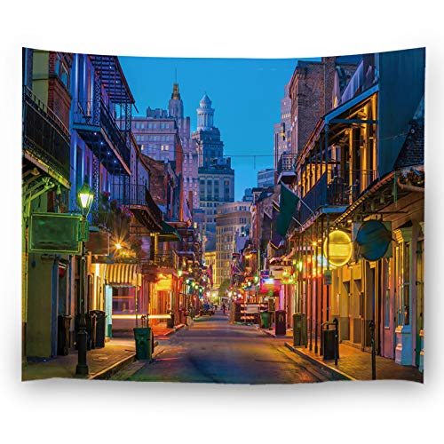 Misscc Wall Decor Tapestries,Pubs and Bars with Neon Lights in The French Quarter New Orleans USA,Bedroom Living Room Dorm Wall Hanging Tapestry