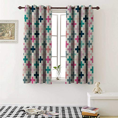 (shenglv Teal and White Customized Curtains Colorful Cross Shapes Dotted Design Hipster Feminine Girls Fun Art Graphic Curtains for Kitchen Windows W63 x L45 Inch Multicolor)
