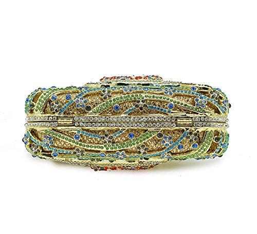 Ladies Rhinestone Small Banquet Handbag Fashion Crystal Bag Full Chain Luxury Clutch Bag Green Evening Bag Bag Dinner OSnqrSBI