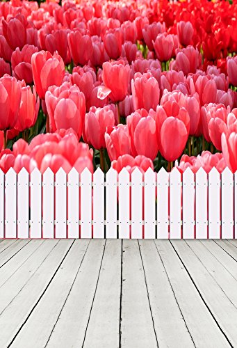 AOFOTO 4x6ft Photography Backdrops Photo Background Romantic Tulips Sweet Flower Fence Wood Floor Garden Scenery Props Video Studio Baby Child Kid Girl Lover Artistic Portrait Vinyl Wallpaper