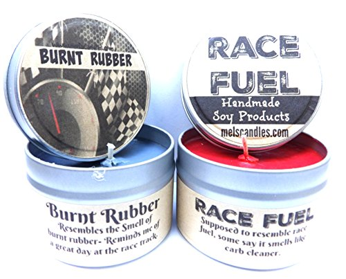 Combo - 8oz Burnt Rubber & 8oz Race Fuel Soy Candle Tins - Great Gift for Men & Race Fans