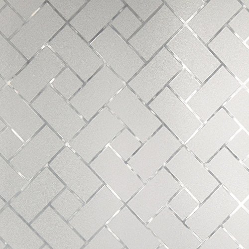 Gila Frosted Tile Decorative Privacy Control Static Cling Window Film 36 x 78-INCH (3 ft. by 6.5 ft.) Frosted Glass Tiles
