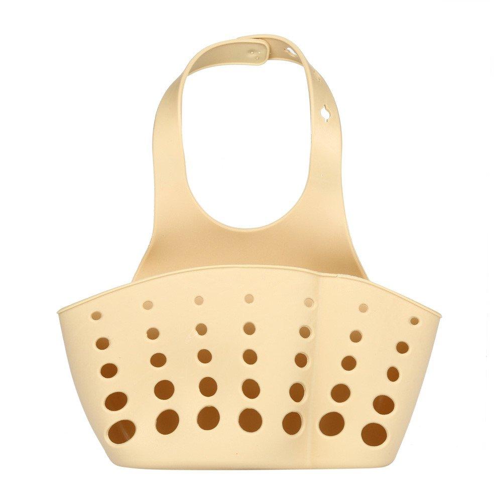 Kitchen Storage Bag Portable Home Kitchen Hanging Bag Basket Bath Storage Tools Sink Holder Household Kitchen (KHAKI)