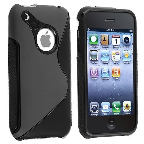 Importer520 black rubber tpu gel hard case skin cover for apple iphone 3G 3GS 8GB 16GB