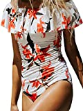 Bong Buy Fashion Womens One Pioece Flounce Monokini Padded Colorblock Off Shoulder Floral Bikini Swimsuit(white,M)