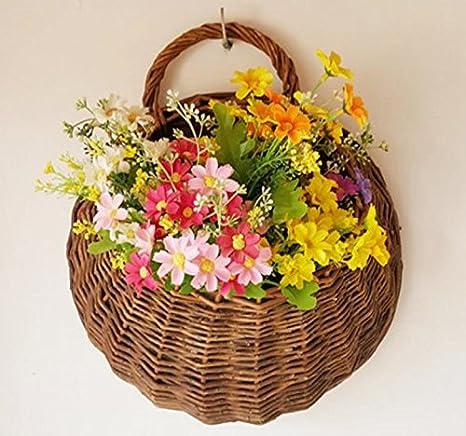 Garland pianta appesi cestini, vimini tessuti a mano a parete verticale da giardino vasi da fiori, Vivere cesto di impianto al coperto wexe.com