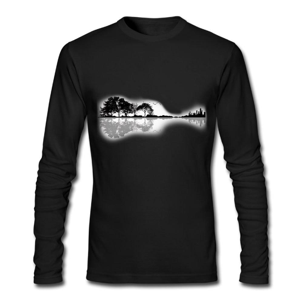 Nature Guitar Chic Athletic Men's Basic Cotton Long-Sleeve T-Shirt