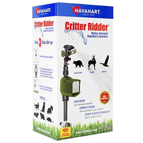 Detects Water - Havahart 5277 Motion-Activated Animal Repellent and Sprinkler, 1 Pack, Green
