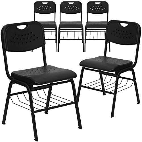 Hercules Series Plastic Chair with Frame and Book Basket (5 Pack), 880 lb, Black ()