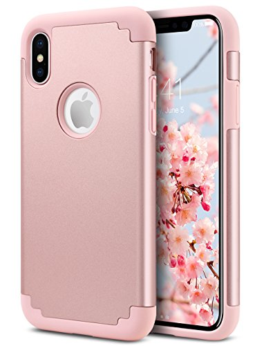 iPhone X Case, ULAK Slim Heavy Duty Protection Hybrid Soft Rubber & Silicone Hard PC Back Cover 2-Layer Shock Absorption Support Wireless Charging- Rose Gold (Plastic Tpu Skin)