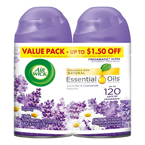 Price comparison product image Air Wick Freshmatic 2 Refills Automatic Spray, Lavender & Chamomile, (2X6.17oz), Air Freshener