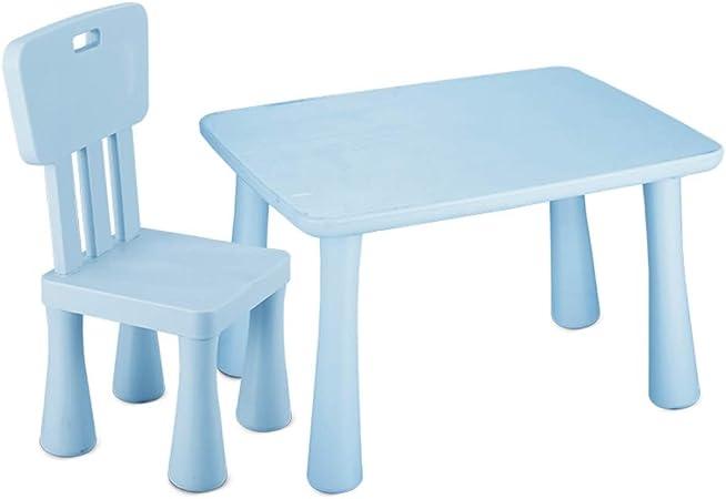 ZHAOHUI Mesas Y Sillas Infantiles Plástico PP Set Infantil Mesa Sillas para Niños Pintura Leer Juego Comer Jardín De Infancia Ligero, 2 Estilos (Color : Blue-B): Amazon.es: Hogar