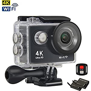 Action Camera 4K WIFI Waterproof Sports Camera Ultra HD 1080P Scuba Diving Underwater Camera Mini Sports DV Camcorder, 170 Wide Angle/Color Screen/Remote Control/2 Batteries/ Mounting Accessories Kits