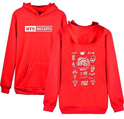 Moda Manica Donna Felpe Una Tunica Cappuccio Scritta Lunga Sweatshirt BESTHOO Con Maglione Con Pullover BTS Cappuccio Con Collo Rotondo 05xqvwH