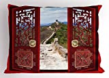 Lunarable Ancient China Pillow Sham, Gates with Ornaments Great Wall of China Famous Historical Old Structure, Decorative Standard King Size Printed Pillowcase, 36 X 20 inches, Multicolor