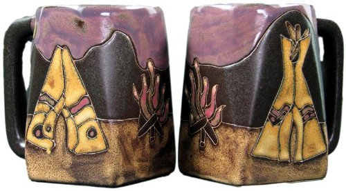 Set Of Two (2) MARA STONEWARE COLLECTION - 12 Oz Coffee Cup Collectible Square Dinner Mugs - Tee Pee/Camp Fire Native American Design ()