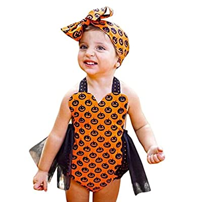 Fiaya Halloween Costume Toddler Baby Girls Halter Backless Pumpkin Tutu Romper Jumpsuit Outfits for NB-24M