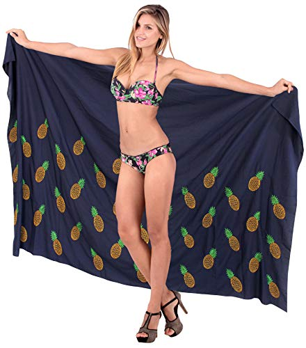 LA LEELA Delicato Liscio Costume da Bagno Rayon Mano di Paillettes Pareo Bikini Sarong 78x41 Pollici Blu Navy_v530