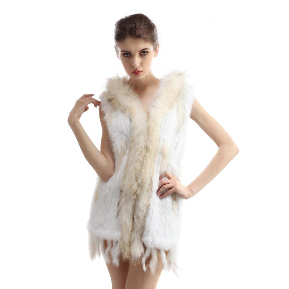 OLLEBOBO Women's Genuine Rabbit Fur Knitted Sleeveless Waistcoat with Hood Size M White